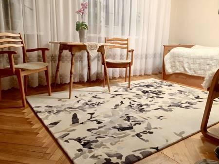 Firana z ozdobnym dołem i nowy dywan